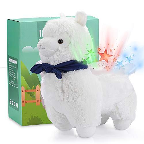 Lama Kuscheltier Plüschtier 35cm Sternenhimmel Projektor, Alpaka Stofftier Nachtlicht LED Spielzeug, Weiß Süßes Lama, Geschenke für Baby Mädchen Kinder als Weihnachtsgeschenke - INNObeta