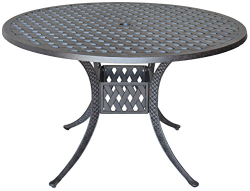 60 K/&B PATIO LD777ASF-60 Elizabeth Round Dining Table with Firepit Antique Bronze