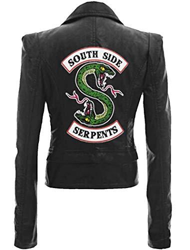 Yesgirl Riverdale Southside Serpents Jacke Damen Mode Lederjacke Coole Leder Pullover Frauen Slim Fit Sweatshirt Bauchfreier Pulli Kurz Crop Tops Oberteile Langarmshirts I Schwarz X-Large