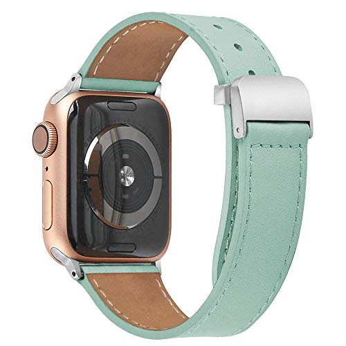 PUGO TOP Cinturino compatibile per Apple Watch Series 4 40mm 44mm Serie 3 2 1 38mm 42mm sportivo di ricambio per cinturino Iwatch Nike +, fibbia metallica in acciaio inossidabile(42mm/44mm Teal)