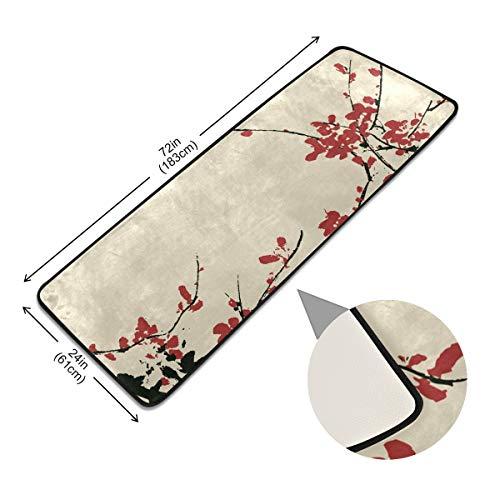 XiangHeFu Vloerkleed, antislip, vloerbedekking, oude kunstzinnige kersenbloesem-hedendaagse antislip vloermat