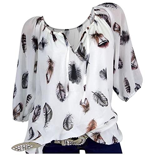 T- Damen Bluse Langarm V-Ausschnitt Bluse Feder Drucken Casual Oberteile Blusen Shirts Shirts Blusen Tops Sweatshirt Langarmshirts Casual Shirt Summer Loose Leisure Tops (Weiß, 2XL)