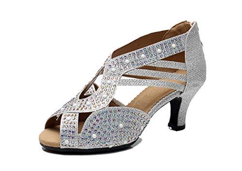 MGM-Joymod Mujer Peep Toe Cremallera Glitter Rhinestone Sintético Tango Danza Latina Zapatos...