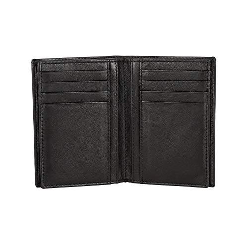 DV Portafoglio uomo da 16 Portatessere Porta carte Verticale in Vera Pelle Nappa Porta banconote Nero
