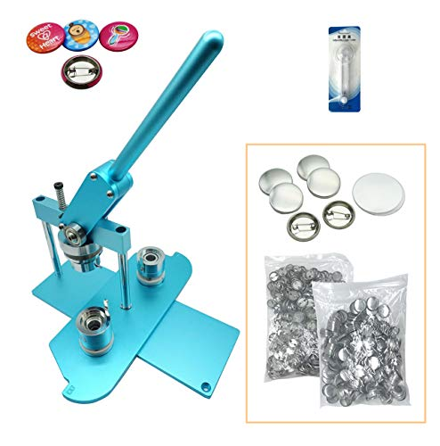 """ChiButtons (KIT) 25mm(1"""") Pro Badge Machine Button Maker B400 + Mould + 500 Parts + Circle Cutter Metric System(Blue)"""