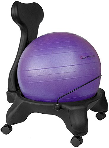 Isokinetics Inc. Balance Exercise Ball Chair - Black 52cm Ball - Standard Height Frame - Office Size...