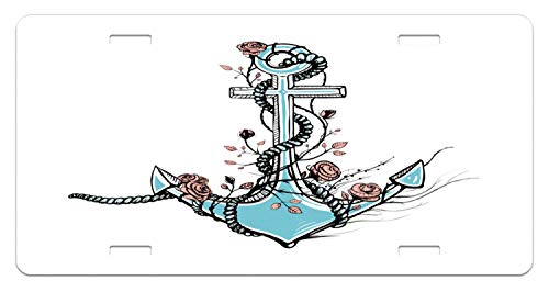 JUUK Anchor Romantic Old Anchor with Blooming Roses Marine Theme Sketch Vintage Decorative Car Front License Plate,Vanity Tag,Aluminum Novelty License Plate for Car,6 X 12 Inch