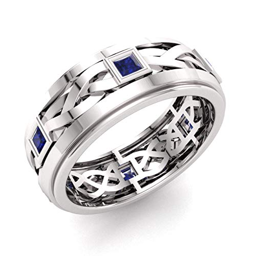 Diamondere Natural and Certified Princess Cut Blue Sapphire Wedding Band Ring in 14k White Gold   0.72 Carat Celtic Knot Ring for Mens, US Size 12.5