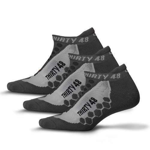 Thirty 48 Running Socks for Men and Women -CoolMax Fabric Keeps Feet Cool & Dry, Gray/Gray 3-Pack, Medium - Women 9-10.5/ Men 8-9.5