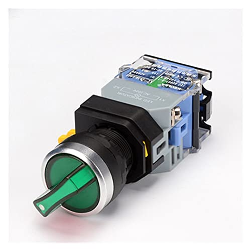 YSJJSQZ Interruptor Giratorio Interruptor de botón Giratorio de 1 UNIDS con Ligh 22mm 2 Posición 3 Posición Llateado LED Interruptores Red Green Head la38-11xd / 2 (Color : Green, Size : 2 Position)