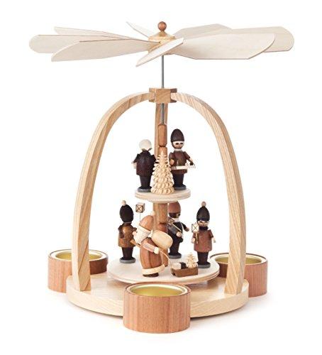 Pyramide modern mit Striezel-Kindern und Weihnachtsmann, für Teelichter, von DREGENO SEIFFEN 24 cm – Original erzgebirgische Handarbeit, Weihnachtsdekoration
