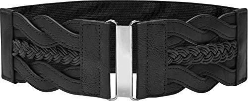 BlackButterfly 7.5 CM Waspie Elástico Vintage Trenzado Hebilla Cinturón (Negro, ES 50-52)