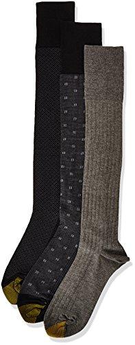 Gold Toe Men's Over The Calf Dress Socks, 3 Pairs, black/charcoal, Shoe Size: 6-12.5