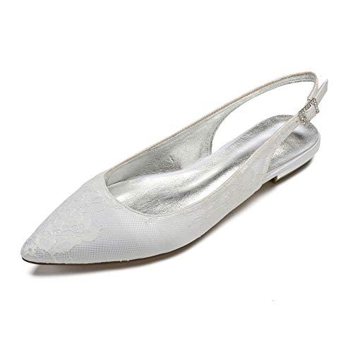 AQTEC Mujer Puntiagudos Cordón de satén Planos Ballerina Zapatos Moda Partido Zapatos de Novia de Boda con Hebillas y Tiras en la Parte Trasera,Marfil,39 EU