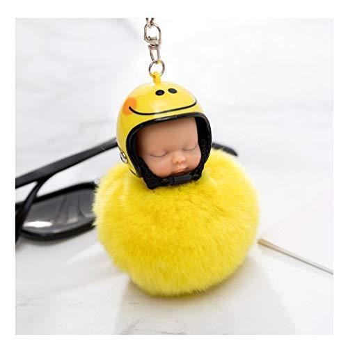 Fliyeong - Llavero con Bola Suave y esponjosa, diseño de muñeca, Color Amarillo