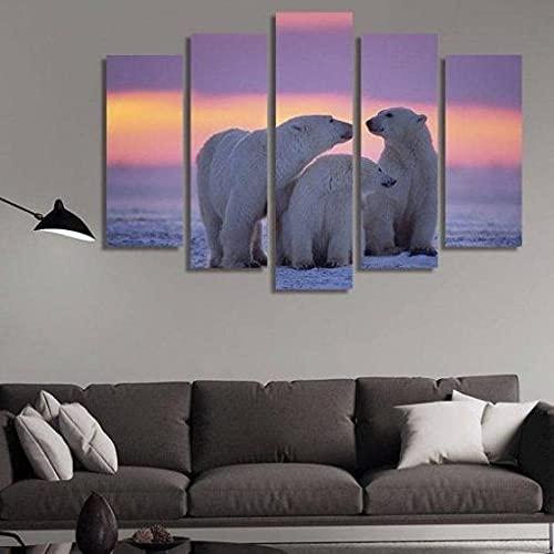 ARIE Leinwand 5 Teilig Eisbären-Familienliebe 5 Stück Modular Druck Leinwand Bilder Moderne Schlafzimmer Wohnzimmer Wohnkultur