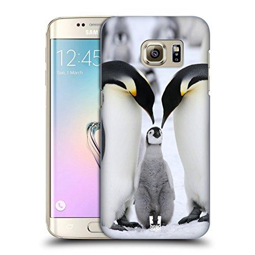 Head Case Designs Famiglia di Pinguini sul Ghiaccio Animali Selvatici Cover Dura per Parte Posteriore e Sfondo di Design Abbinato Compatibile con Samsung Galaxy S7 Edge