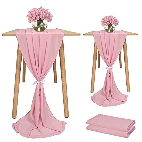 Showgeous 2 Stück Chiffon Tischläufer 28x120 Zoll Romantischer Hochzeitsläufer 10ft Dusty Rose Sheer Chiffon Tischdecke Schminktischläufer für Hochzeit Geburtstagsfeier Braut Baby Shower Dekorationen