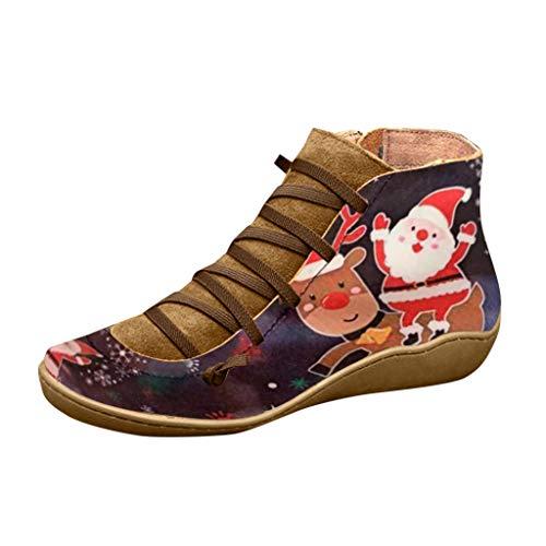 Binggong Damen Weihnachtsmotiv Kurzstiefel Arch Support Stiefel, Frauen wasserdichte Stiefeletten,Festlicher Winter Schnürschuhe Schneeschuhe Flache Stiefel Anti Rutsch Bequeme Booties