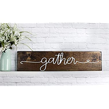 Dark Walnut Gather Wooden Sign - Rustic Wood Wall Decor - Handmade Farmhouse Plaque