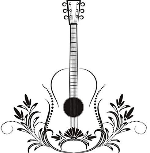 Pbldb Floral Guitarra Acústica Notas Musicales E Instrumentos ...