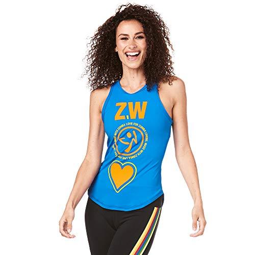 Zumba Z1T01394 Canotta da Allenamento con Collo Alto, con Grafica per Danza e Fitness, da Donna, Colore: Blu, XS
