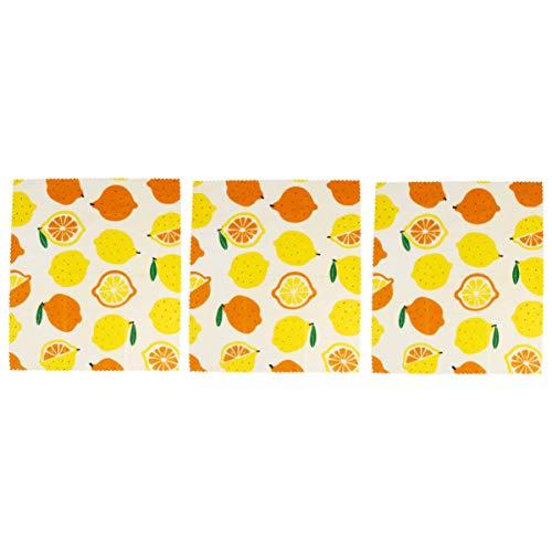 ULTECHNOVO 3 Piezas Cera de Abejas Envoltura de Alimentos Patrón de Limón Envoltorios de Alimentos Reutilizables Ecológicos Paños de Conservación de Alimentos Alternativa de Envoltura para