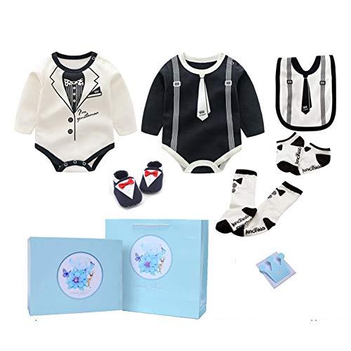 JUNBABY Boîte Cadeau pour BéBb,Coffret Cadeau De Vêtements en Coton Nouveau-Né, Style Gentilhomme-WhiteA-S