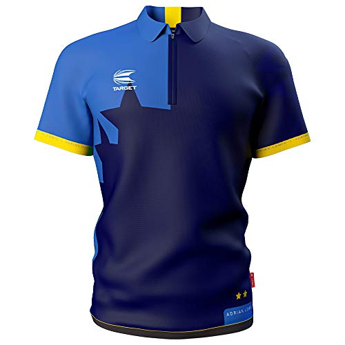 Target Darts Coolplay Adrian 'Jackpot' Lewis Pro - Camiseta de Dardos (Talla 3XL), Color Azul Marino y Azul Cielo