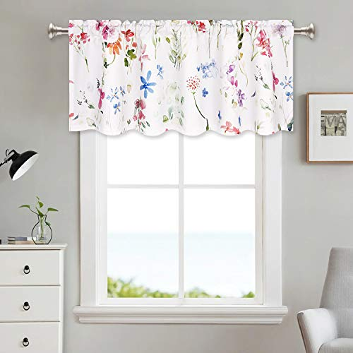 VERTKREA Floral Valance Window Curtains Watercolor Flower Kitchen Curtains 52 x 18 Inches Rod Pocket Curtains Home Decoration