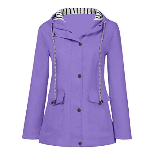Regenmantel Damen Wasserdicht Atmungsaktiv Große Größen Windbreaker Regenjacke mit Kapuze Sonnenschutz Outdoor Sport Regenanzug Jacken Mantel für Herbst Winter