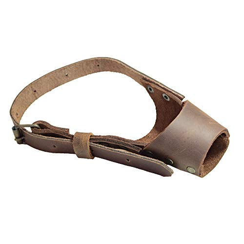 Hide & Drink, Leather Dog Muzzle Guard, Secure, Prevents Biting Chewing, Pitbull German Shephard & Any Breeds, Small Medium Large, Handmade Includes 101 Year Warranty :: Bourbon Brown (Small)
