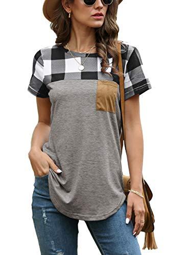 Qflmy Women Casual T-Shirt Classic Plaid Pocket Round Neck Tees Short Sleeves Tee Tops(D-M)