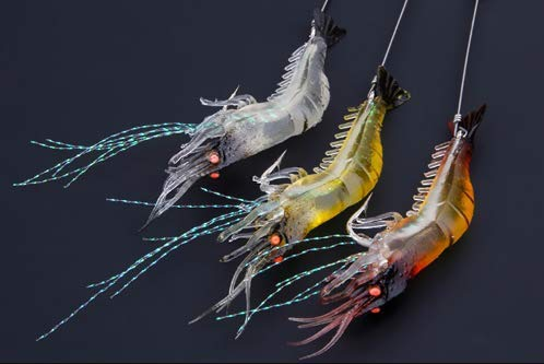 Ruosaren High Simulation Lure Soft Bait with Hook Fake Shrimp,Fake Bait Bionic Official Hanging Shrimp,Luminous Fishing Gear