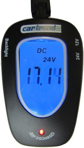 Cartrend 80127 Testeur de batterie 12 volts/24 volts, avec écran LCD de rétroéclairage bleu