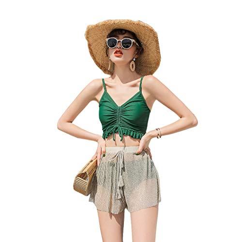 YANRY New Split Skirt Small Chest Gathered Bikini Three-Piece Sexy Hot Spring Bathing Suit Female Green Sexy Bikini (Color : Green, Size : L)