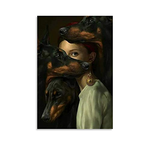 UWER Kunst-Poster mit Dobermann-Hund Ästhetik, Leinwand-Kunst-Poster und Wandkunst, Bild, moderner Familienschlafzimmerdekoration, 30 x 45 cm