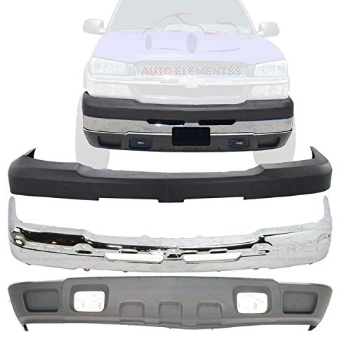 New Front Bumper Face Bar Chrome Steel + Textured Upper & Lower Cover For 2003-2007 Chevy Silverado 2500HD 3500 Direct Replacement 15139804 19150310 10398000
