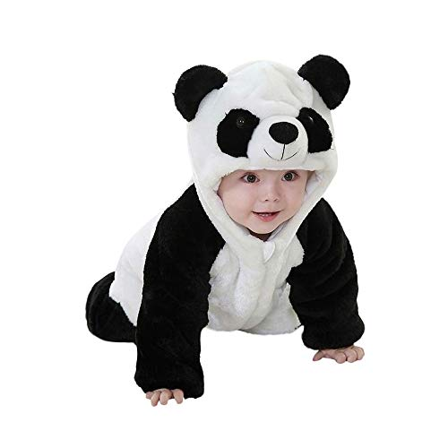Kword Bambino Bambina Felpe e Tute, Neonato Ragazzi Ragazze Panda Modellazione Cartoon Incappucciato Rompers Abiti Vestiti Felpe con Cappuccio Ragazze Pigiama Bambini Abbigliamento (Bianco, 24 Mesi)