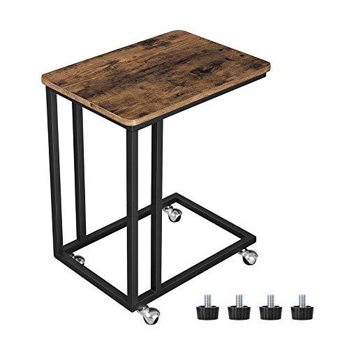 VASAGLE Beistelltisch, Sofatisch, Kaffeetisch im Industrie-Design, einfach zu montieren, stabil, Wohnzimmertisch auf Rollen, mit Metallgestell, Vintage LNT50X