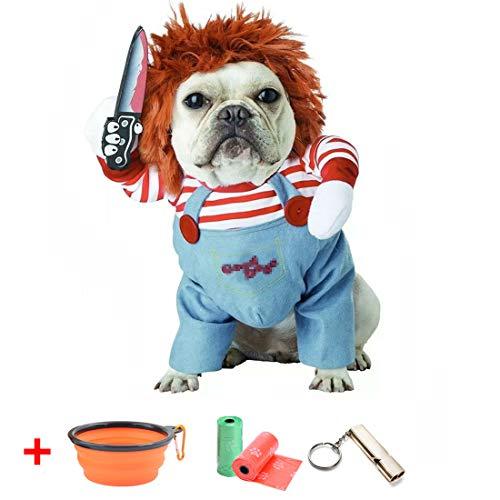 TVMALL Hundekostüm Tödliche Puppe Verkleidungen & Kostüme für Hunde lustige Cosplay Chucky Puppe Hundekostüm mit Hut Partykleidung, Halloween Weihnachtskostüm, geeignet für große und kleine Hunde