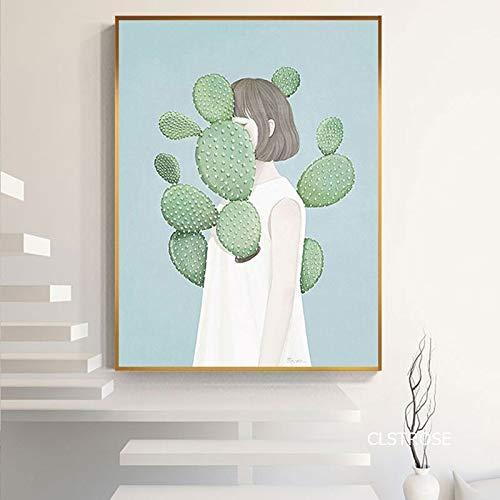wZUN Dibujos Animados Anime Triste Cactus Chica Cartel Arte Lienzo Imagen Sala de Estar decoración Pintura 60X90 Sin Marco
