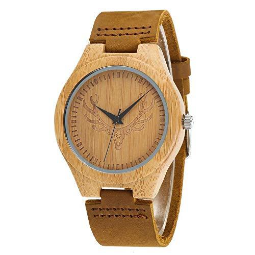 GLEMFOX Holzuhr Bambusholz Echtlederband Naturholz Armbanduhr Japanisches Quarzuhrwerk für Damen & Herren - Paaruhr