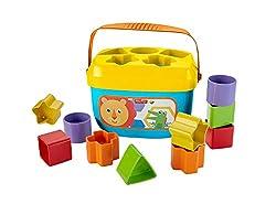 Fisher-Price FFC84 - Babys Erste Bausteine Baby Spielzeug Formensortierspiel mit Spielwürfeln und Eimer zum Verstauen ab 6 Monaten