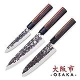 3 Claveles - Juego de 3 Cuchillos Profesionales Estilo Japonés Gama Osaka, Hojas Unicas Forjadas a Mano, Selección Master Chef