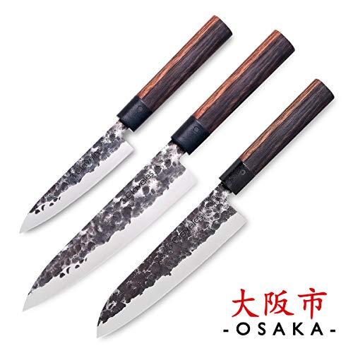 PracticDomus 3 Claveles - Set mit 3 Professionellen Japanischen Messern der Osaka-Serie, Einhändig Geschmiedete Klingen, Master Chef Selection