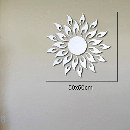AungAoo spiegel muur Stickers _ zon acryl spiegel Stickers zon bloem spiegel decoratieve driedimensionale kristallen spiegel muur Stickers medium goud