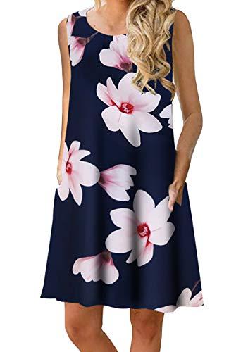 OMZIN Sommerkleider Damen Casual Ärmellos Rundhals Strandkleider Blumen Bedrucktes Trägerkleid Kurz Kleider mit Taschen Blauer Lotus L