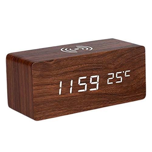 Gazechimp Reloj Despertador de Madera Digital con Carga Inalámbrica, Pantalla LED de Alarma, Sonido