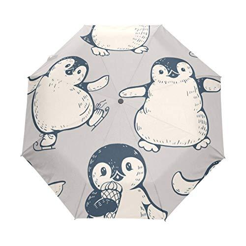 Monochrome schattige pinguïns ijs reizen paraplu winddichte automatische paraplu-fabriek Outlet paraplu